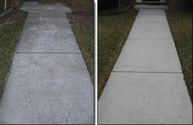 concrete before & after pressure washing